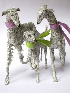 Papier Mâché Dogs: Lorraine Corrigan of Hounds of Bath in England works with wire, papier mâché, & old book pages to capture the delicate features of sighthounds.