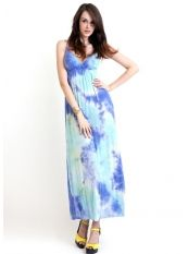Sexy Style Slim V-neck Gallus Gradient Color Bohemian Dress
