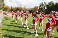 Little Red Cheer varsity squad from New Hampshire in Chassé uniforms and socks, ordered from Omni Cheer!