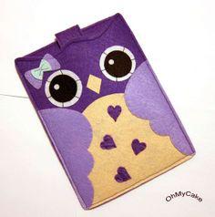 """Handmade Felt Kindle Case - Kindle 3 Cover - Kindle Fire Case - Kindle Touch Cover - Nook Case - Kindle Felt Sleeve - """" Purple Owl """" Design"""