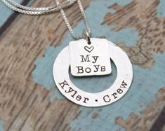 Personalized Hand Stamped Jewelry Custom by TracyTayanDesigns #myboys #momnecklace #giftformom #tracytayandesigns