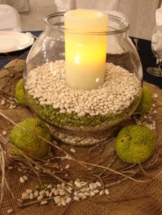 Hedge Apples are the perfect accessory to a fall wedding! Country Table Centerpieces, Candle Centerpieces For Home, Wedding Centerpieces, Wedding Decorations, Wedding Ideas, Wedding 2015, Centerpiece Ideas, Fall Wedding, Wedding Stuff