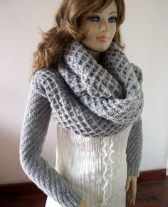 KNITTING PATTERN  Sleeve Scarf Sweater Wrap  by LiliaCraftParty