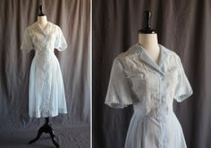 Lovely Pale Sky Blue Sheer 1940s Vintage Shirtwaist Day Dress with Eyelet Detail -- 40s 50s WWII Pinup Rockabilly VLV --
