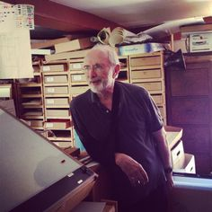 Ed Emberley in the studio, also see my Ed Emberley board Ed Emberley, Richard Scarry, Arts Ed, Inspiring People, Picture Books, Book Authors, Printmaking, Writers, Childrens Books