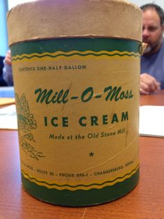 Ice cream container from the Old Mill