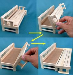 Pull out sofa bed Easy dollhouse wooden furniture Intelligent Smart transformer lounge chair sca - Diy furniture beds Miniature Furniture, Dollhouse Furniture, Furniture Making, Diy Sofa, Wooden Dollhouse, Diy Dollhouse, Pull Out Sofa Bed, Barbie Furniture, Furniture Dolly