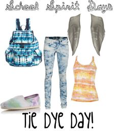 A fashion look from May 2012 featuring summer tops, short sleeve shrug and ripped jeans. Browse and shop related looks. School Spirit Days, Student Council, Comfy Casual, Summer Tops, Ripped Jeans, Homecoming, Tie Dye, Fashion Looks, School Ideas