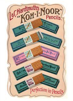 Koh-I-Noor Pencils, full page insert from a 1909 Wadsworth Howland & Co. Via Leadholder Pencil Museum Vintage Labels, Vintage Ephemera, Vintage Ads, Vintage Posters, Vintage Signs, Graphics Vintage, Vintage Packaging, Vintage Type, Vintage Prints