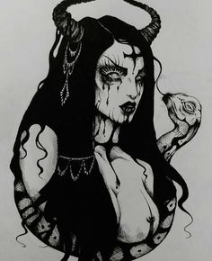A gorgeous tattoo project that beautiful & talented made just for me 💕💕 I've asked for a portrait of Lilith…Here it is. A gorgeous tattoo project that beautiful & talented Gothic Drawings, Creepy Drawings, Dark Art Drawings, Art Drawings Sketches, Tattoo Drawings, Body Art Tattoos, Creepy Art, Satanic Tattoos, Satanic Art