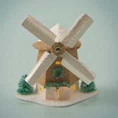 Miniature Glitter House Kit - Windmill with Light $11