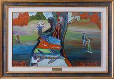 Eine Malerei des italienischen Art-Brut-Malers Ugo Mainetti, *1945, der ursprünglich Metzger war. Metzger, Art Brut, Girl Model, Gallery, Painting, Italy, Painting Art, Pictures, Roof Rack