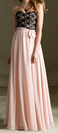 Blush + black maxi dress