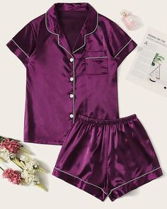 To find out about the Contrast Binding Satin Pajama Set at SHEIN, part of our latest Pajama Sets ready to shop online today! Cute Sleepwear, Sleepwear Women, Pajamas Women, Lingerie Sleepwear, Nightwear, Cute Pajama Sets, Cute Pajamas, Pj Sets, Satin Pyjama Set