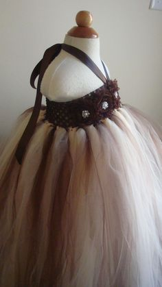 Flower girl dress champagne brown tutu by Theprincessandthebou, $74.00......I really love this!