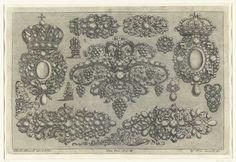 Josef Friedrich Leopold   Dertien ontwerpen voor juwelen en een bladrank, Josef Friedrich Leopold, 1695   Blad 5 uit serie van 17 bladen.