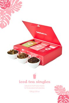 Three of David's favourite loose leaf iced teas in in pre-portioned packets.
