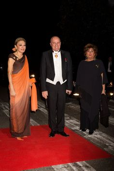 (L) Empress Farah Pahlavi of Iran and guests arrives for the gala dinner at the Royal palace after the wedding of Crown Prince Leka II of Albania and Crown Princess Elia Zaharia in Tirana, Albania on October 8, 2016.