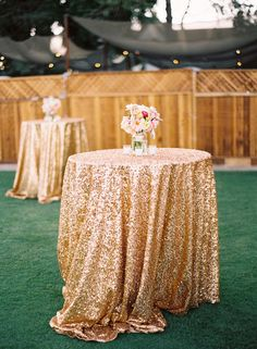 Sequins make this reception girly gone glam: http://www.stylemepretty.com/2014/07/15/metallic-wedding-moments-we-love/