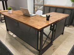 L Shape Carruca Desk |industrial office furniture| |modern industrial commercial furniture| |rustic office furniture|  #Industrialoffice #Officedesign #Workstations http://www.ironageoffice.com/