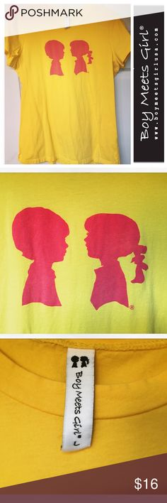 Boy Meets Girl Alice Logo Tee - L 💑💕🛍 This shirt has only been worn and washed a few times, it ended up being too small for me. However, it's ADORABLE. I can't get enough of this brand! Perfect condition! 100% cotton, hits at low hip, cap sleeves. Size: Large. Color: Sunshine Yellow w/ Hot Pink graphic.   ABOUT BMG: A young contemporary brand for our girl... she's fun and fearless, wild yet modest, strong but soft. She loves with her entire soul, and lives life with courage. She always…