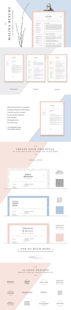 3 Piece Resume Set @creativework247 Resume Help Pinterest