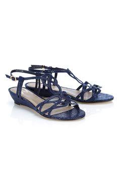 Navy Pattern Wedge Sandal