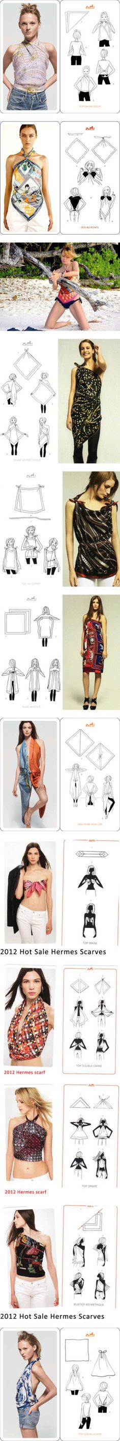 """18 ways to tie Sexy Hermes scarves tops and skirts"" by shoeswithredsoles ❤…"