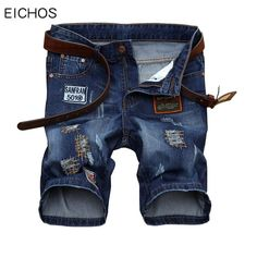 New Ripped Jeans For Men Spring And Summer Holes Short Jeans Men Washed Japanese Style Patch Short Marque Homme