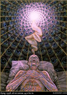Art by Alex Grey; recognized it without even having to see the name, he has an unmistakable style