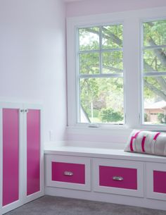 Close up of window seat by Profile Cabinet and Design.