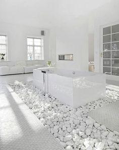 ..love the tub sitting on white rocks