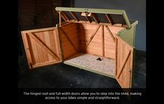 Pedalbase Bike Shed -- nice, compact design. Garden Tool Storage, Shed Storage, Diy Storage, Storage Ideas, Storage Cart, Storage Shelves, Bike Storage Locker, Bike Locker, Outdoor Bike Storage