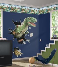 Boys Room With Dinosaurs Wall Mural