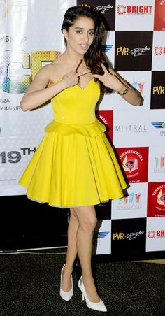 Shraddha Kapoor spread sunshine all over as she stepped out in a bright yellow Philipp Plein dress for ABCD 2 promotions. Indian Bollywood Actress, Bollywood Fashion, Indian Actresses, Prettiest Actresses, Beautiful Actresses, Indian Celebrities, Bollywood Celebrities, Celebrity Outfits, Celebrity Pictures