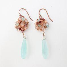 Crochet Chalcedony & Pink Opal Earrings — Nan Lee Jewelry
