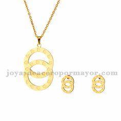 juego de collar y aretes de moda de dorado en acero-SSNEG503035