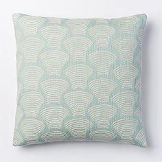 Accent Pillows | West Elm Crewel Deco Shells Pillow Cover - Pale Harbor #westelm, $32