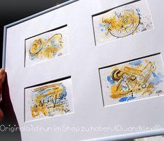 Vier goldene Wohltaten im Quartett vereint.  Die Bilderquadriga kam eben in den Shop wandklex.dawanda.com. Dort und auch im anderen Shop auf wandklex.etsy.com sind ausserdem immer mal auch versandfertige Arbeiten. Und auch Aufträge nach Wunsch können natürlich dort bestellt werden. . Material: Schmincke Künstlerfarben Horadam auf @hahnemuehle Britannia 300g rauh (je 11x8 cm wird montiert auf 30x40cm MaßPassepartout mit 4 passenden Ausschnitten @wandklex Kunstatelier  #wandklex…