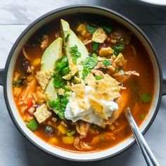All in one pot and bursting with flavor, this AhhMazing Pressure Cooker Chicken Tortilla Soup will not let you down.