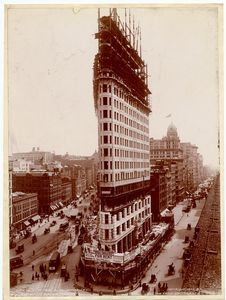 """Flat-iron bldg., Broadway and Fifth Avenue, New York.  [""Flatiron building, Broadway and 5th Avenue, New York.] (1902)"