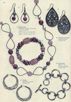 Premier Designs - Rhapsody Bracelet, Necklace and Earrings; Trellis Earrings; Hemmie Bracelet and Dream Catcher Earrings