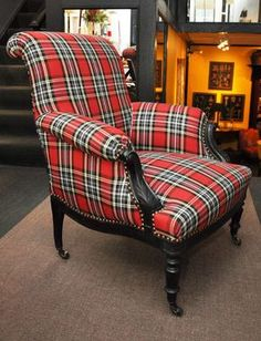 trends: plaid ~ French, century Napoleon III Ebonized Bergeres chair with red Tartan upholstery and nailhead Trim. Tartan Decor, Tartan Plaid, Tartan Fabric, Take A Seat, Traditional Decor, Upholstered Furniture, Family Room, House Design, Interior Design
