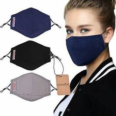 Dust Mask,Aniwon 3 Pack Anti Dust Pollution Mask with 6 Pcs Activated Carbon Filter Insert Washable Cotton Mouth Mask with Adjustable Straps Mouth Mask Fashion, Fashion Face, Masque Anti Pollution, Different Nose Shapes, Flu Mask, Best Masks, Diy Face Mask, Face Masks, Mask For Kids
