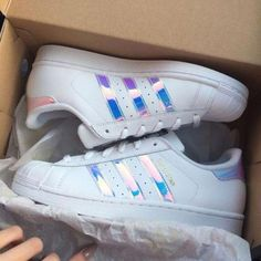 3447a6cb2b2f94 Adidas holographic superstars in womens Adidas Shoes Sneakers