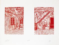 Red Room by Laurits Gulløv #art #artist #painting #drawing - Beauton Art Gallery - http://beautonart.com | http://beautonart.dk