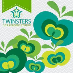 Green apple png digital clipartTW40  INSTANT DOWNLOAD by Twinsters, $2.50
