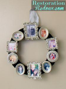 how to make a vintage photo frame wreath