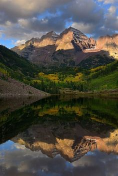 Maroon Bells by Aspen Colorado. Take the time to hike to the base of the bells. SPECTACULAR!!