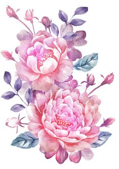 Flower sketches: Watercolor illustration flower in simple backgroun...